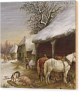 Farmyard In Winter  Wood Print
