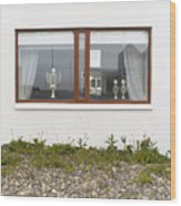 Facade - A Window With A Trophy To Show Wood Print