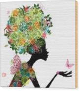 Fashion Girl With Hair Arabesque Wood Print