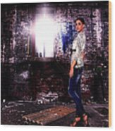 Fashion Model In Jeans  Wood Print