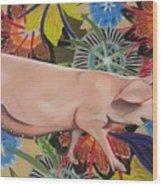 Fashionista Pig Wood Print