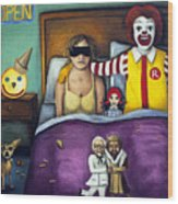 Fast Food Nightmare Wood Print by Leah Saulnier The Painting Maniac