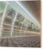 Fast Moving Long Exposure Of Subway Train Underground Tunnel Wood Print