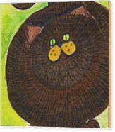 Fat Cat Wood Print