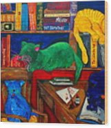 Fat Cats In The Library Wood Print