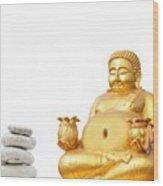 Fat Happy Buddha In Meditation Wood Print