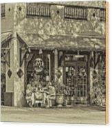 Fat Hen Grocery Sepia Wood Print