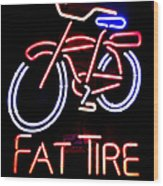 Fat Tire Neon Sign Wood Print