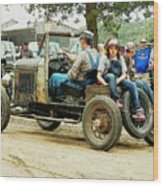Father And Daughter In The Tractor Parade Wood Print