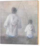 Father And Son Fishing Wood Print by Alan Daysh
