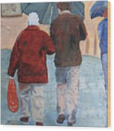 Father And Son Promenade Wood Print