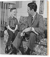 Father And Son Talking And Smiling Wood Print
