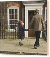 Father And Son Walking Towards Georgian Entrance Wood Print