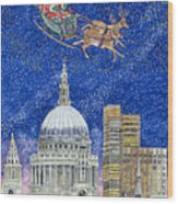 Father Christmas Flying Over London Wood Print