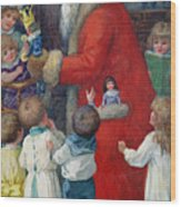 Father Christmas With Children Wood Print
