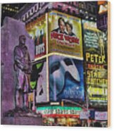 Father Duffy Watching Over Times Square Wood Print by Lee Dos Santos