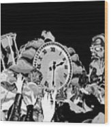 Father Time In Black And White Wood Print