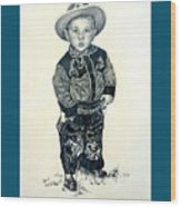 Father's Day Card - Little Buckaroo Wood Print by Carmen Del Valle