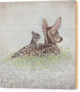 Fawn And Bunny Wood Print