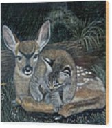 Fawn And Cat Wood Print