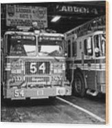 fdny fire station with engine 54 and ladder 5 battalion 9 New York City USA Wood Print