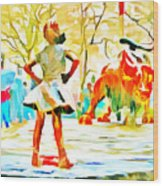 Fearless Girl And Wall Street Bull Statues 6 Watercolor Wood Print