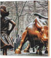 Fearless Girl And Wall Street Bull Statues Wood Print
