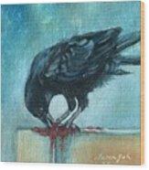 Feasting Raven Wood Print