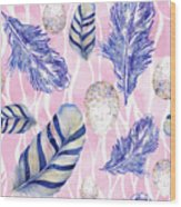 Feathers And Eggs Pattern Wood Print
