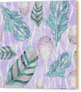 Feathers And Spotted Bird Eggs Woodland Nature Pattern Wood Print