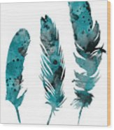 Feathers Watercolor Painting Wood Print