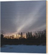 February Dawn Over Mississippi River Wood Print