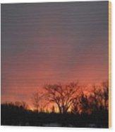 February Morning Red Sky Wood Print
