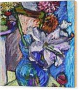February Still Life Flowers Wine And Orange Wood Print