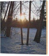 February Sunrise Alongside A Tree Wood Print
