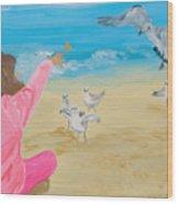 Feeding The Birds Wood Print