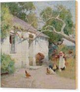 Feeding The Hens Wood Print