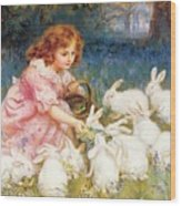 Feeding The Rabbits Wood Print by Frederick Morgan