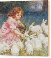 Feeding The Rabbits Wood Print by Frederick Morgan