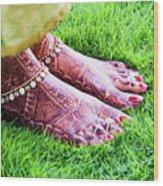 Feet With Mehndi On Grass Wood Print by Athul Krishnan (www.athul.in)