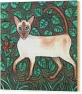 Felina And The Monarch Wood Print