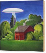 Feline Ufo Abduction Wood Print