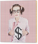 Female Business Superhero Showing Dollar Sign Wood Print