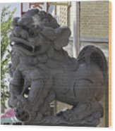Female Chinese Guardian Lion Wood Print