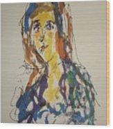 Female Face Study Bb Wood Print