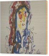 Female Face Study N Wood Print