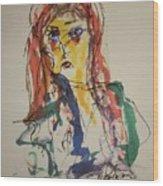 Female Face Study V Wood Print