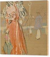 Female Figure In Red Wood Print