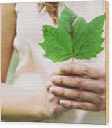 Female Hands Holding Leaf Wood Print