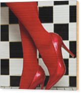 Female Legs In Red Pantyhose And Shoes On High Heels On A Background Wood Print
